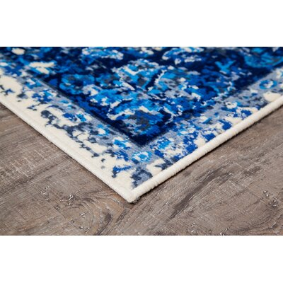 Royalwood Traditional Blue/Cream Area Rug Rug Size: Rectangle 3 x 5