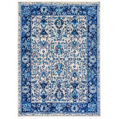 Royalwood Traditional Blue/Cream Area Rug Rug Size: Rectangle 5 x 7