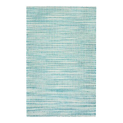 Flatweave Hand-Woven Green/Ivory Area Rug Rug Size: Rectangle 5 x 8