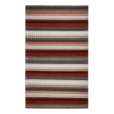 Flatweave Hand-Woven Cotton Red/Black Area Rug Rug Size: Rectangle 5 x 8