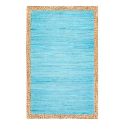Hand-Woven Cotton Blue Area Rug Rug Size: Rectangle 5 x 7