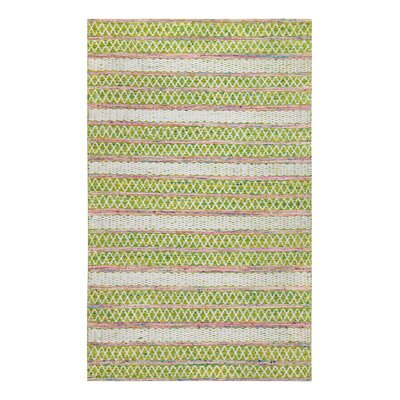 Hand-Woven Green/White Area Rug Rug Size: Rectangle 5 x 8