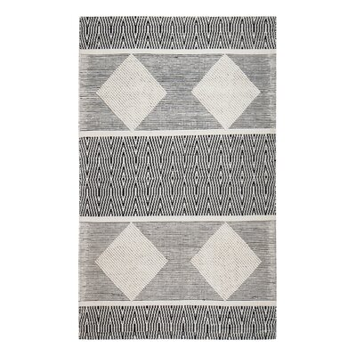 Hand-Woven Black/White Area Rug Rug Size: Rectangle 5 x 8