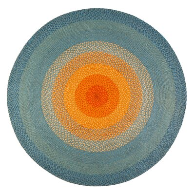Hand-Braided Blue/Orange Area Rug Rug Size: Round 6