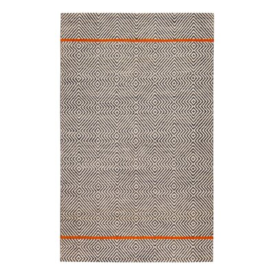 Flatweave Hand-Woven White/Brown Area Rug Rug Size: Rectangle 5 x 8