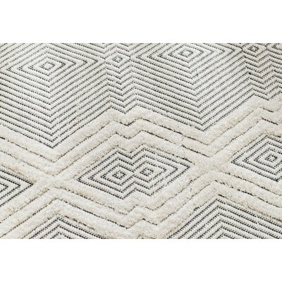Tufted Tribal Hand-Woven Black/White Area Rug Rug Size: Rectangle 8 x 10