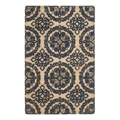 Hand-Tufted Blue/Beige Area Rug Rug Size: Runner 26 x 8