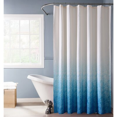 Lace Printed Ombre Shower Curtain Color: Blue