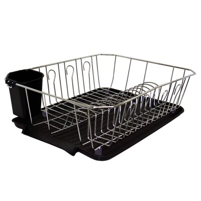 Kitchen Details 3 Piece Dish Rack Set Finish: Black
