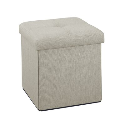 Lindsey Folding Storage Ottoman Upholstery: Ivory