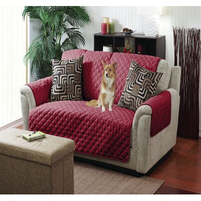 Box Cushion Loveseat Slipcover Color: Burgundy