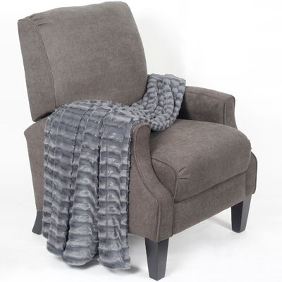 Saga Jumbo Over Sized Double Sided Throw Blanket Color: Pewter