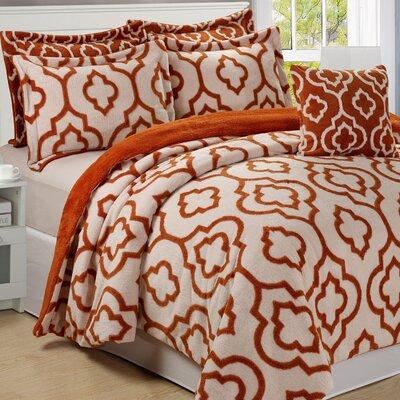 Jacquard 6 Piece Bedspread Set Size: King, Color: Burnt Orange