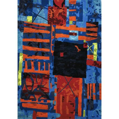 Susanna Hand-Tufted Red/Blue Area Rug Rug Size: 5 x 73