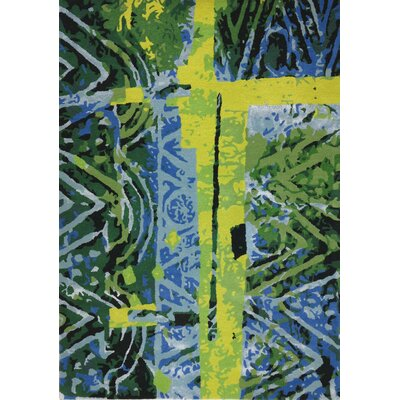 Susanna Hand-Tufted Green/Blue Area Rug Rug Size: 75 x 96