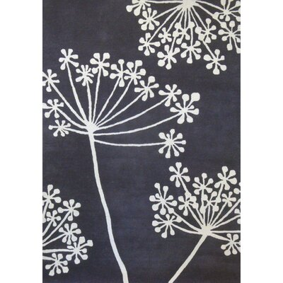 Kadin Hand-Tufted Pewter / White Area Rug Rug Size: Rectangle 5 x 73