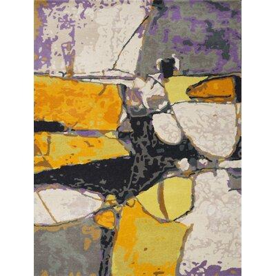 Kadin Hand-Tufted Yellow Rectangle Area Rug Rug Size: 75 x 96