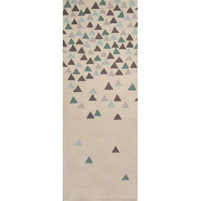 Boardwalk Hand-Tufted Cream/Blue Area Rug Rug Size: Runner 26 x 8
