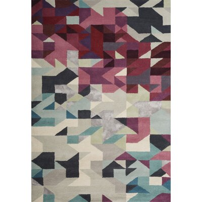 Chester Hand-Tufted Magenta/Gray Area Rug Rug Size: 5 x 73