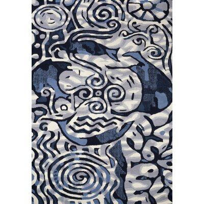 Cleavenger Hand-Tufted Blue/Black Area Rug Rug Size: 5 x 73