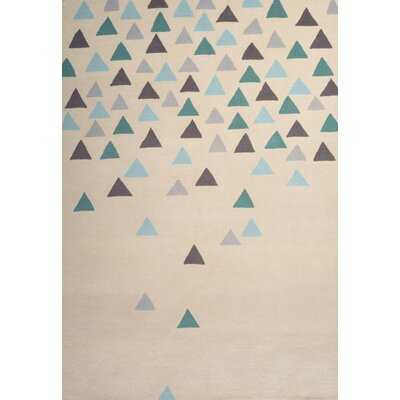Chester Hand-Tufted Cream/Blue Area Rug Rug Size: 75 x 96