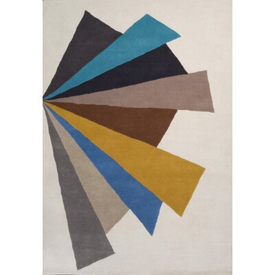 Chester Hand-Tufted Cream/Blue Geometric Area Rug Rug Size: 75 x 96