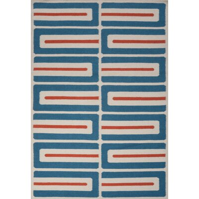 Jess Hand Woven Blue/Red Area Rug Rug Size: 75 x 96