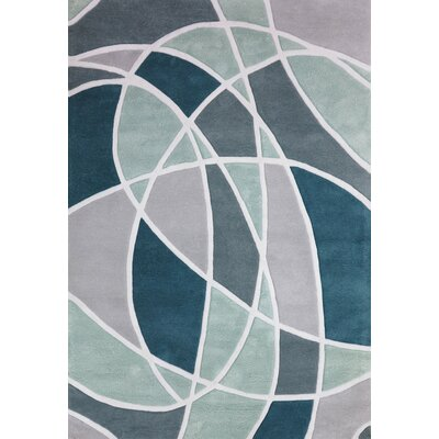 Charon Hand-Tufted Teal/Gray Area Rug Rug Size: 5' x 7'3