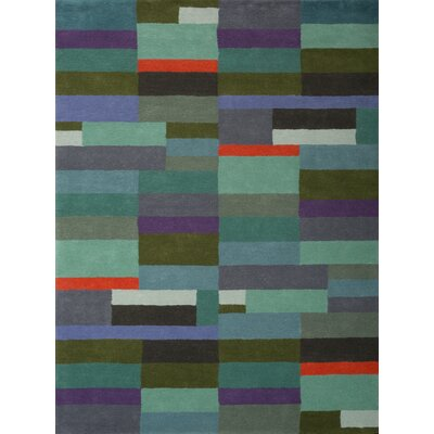 Kadin Hand-Tufted Green/Blue Area Rug Rug Size: 5 x 73
