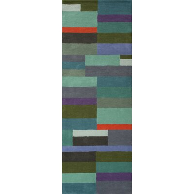 Kadin Hand-Tufted Green/Blue Area Rug Rug Size: Runner 26 x 8