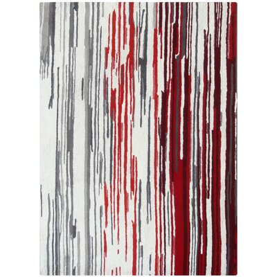 Luna Off-White/Red Area Rug Rug Size: 75 x 96