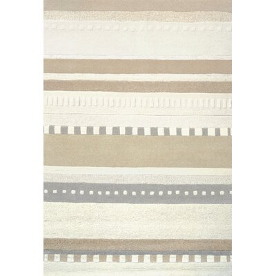 Crosby Hand-tufted Tan/Ivory Area Rug Rug Size: 5 x 73
