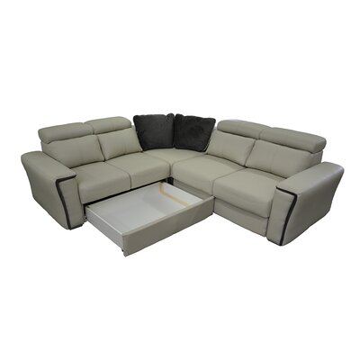 Cheshire Leather Sleeper Sectional Orientation: Left Hand Facing