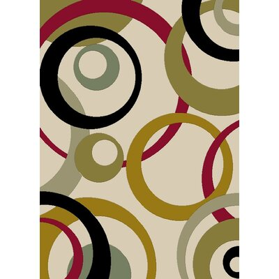 City Ivory Circles Area Rug Rug Size: 5 x 8
