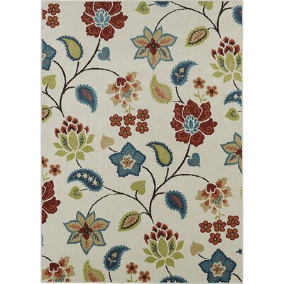 Lifestyles Ivory Garden Chintz Indoor/Outdoor Area Rug Rug Size: 8 x 10