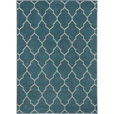 Lifestyles Deco Plaza Aqua Indoor/Outdoor Area Rug Rug Size: 5 x 8