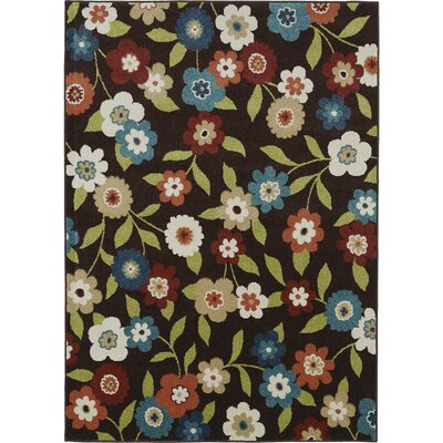 Lifestyles Chocolate Daisy Field Indoor/Outdoor Area Rug Rug Size: 8 x 10
