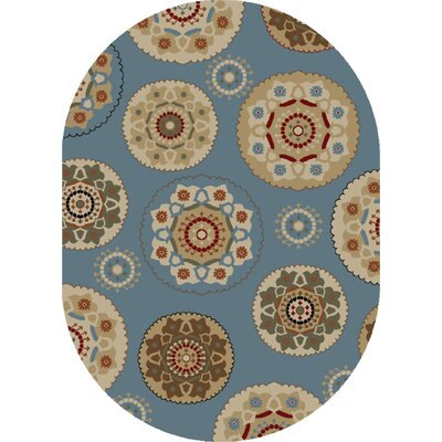 Timeless Blue Deco Pinwheel Area Rug Rug Size: Oval 5 x 8