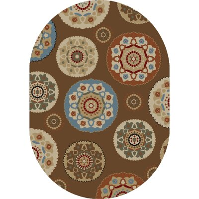 Timeless Deco Pinwheel Chocolate Area Rug Rug Size: Oval 5 x 8