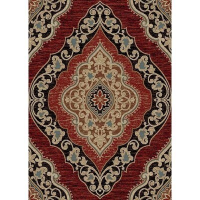 Hometown Amelia Red/Black Area Rug Rug Size: 53 x 77
