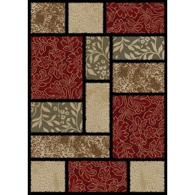 Hometown Modern Panel Red/Black Area Rug Rug Size: 53 x 77