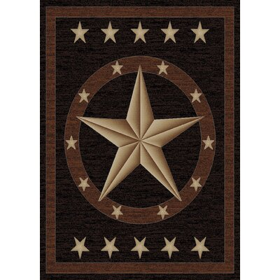 Hearthside Western Star Ebony Area Rug Rug Size: Rectangle 53 x 73