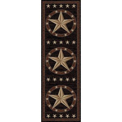 Hearthside Western Star Ebony Area Rug Rug Size: Runner 22 x 77