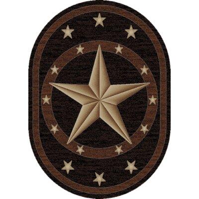 Hearthside Western Star Ebony Area Rug Rug Size: Oval 53 x 73