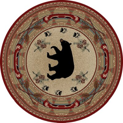 Hearthside Woodlands Bear Area Rug Rug Size: Round 53