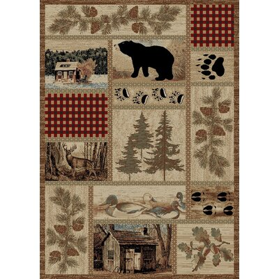 American Destinations Beige/Red Area Rug Rug Size: 4 x 6