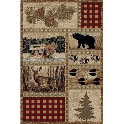 American Destinations Beige/Red Area Rug Rug Size: 2 x 3