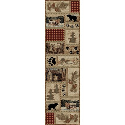 American Destinations Beige/Red Area Rug Rug Size: Runner 2 x 8