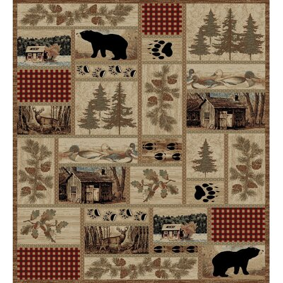American Destinations Beige/Red Area Rug Rug Size: Rectangle 8 x 10