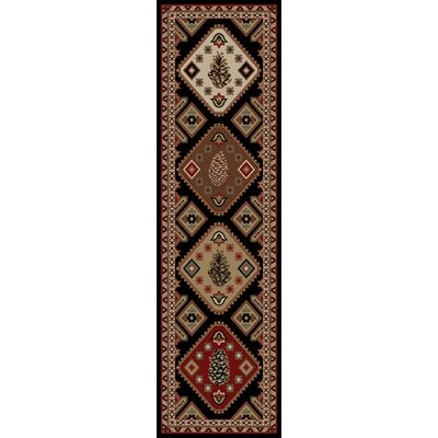 American Destinations Black/Brown Area Rug Rug Size: Runner 2 x 8